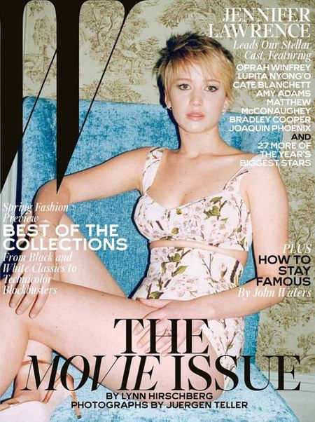 jennifer lawrence - w magazine - movie issue - body confidence - cover - pixie hair - handbag.com