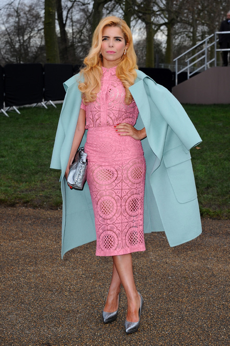 Paloma Faith - burberry - metallic silver accessories handbag - spring trends - lcm - pink dress - blue coat - handbag.com