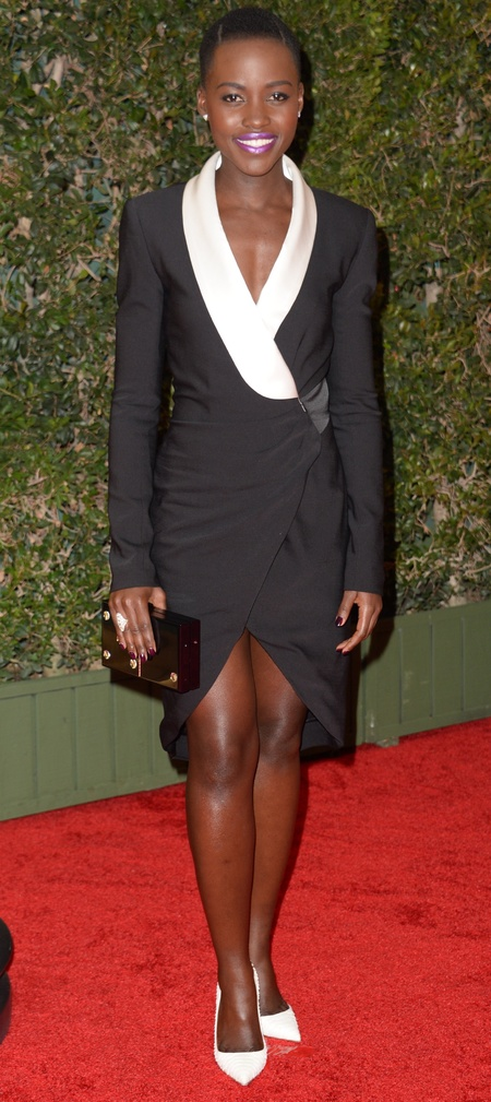 Lupita Nyong'o in black and white Prabal Gurung dress