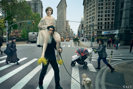 lena dunham us vogue cover - february issue 2014 - riding on adam driver shoulders - handbag.com