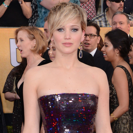 jennifer lawrence in sequin strapless dress - sag awards 2014 - celebrity fashion trends - handbag.com