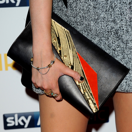 Laura Whitmore - customised clutch bag - girls season 3 premiere - handbag.com