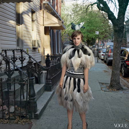 lena dunham us vogue cover - february issue 2014 - pigeon on head - handbag.com