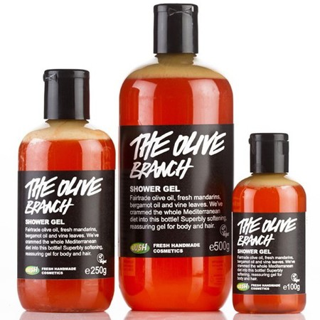 lush natural handmade cosmetics olive branch shower gel - happy shower gels - mood boosting scents and fragrances - handbag.com