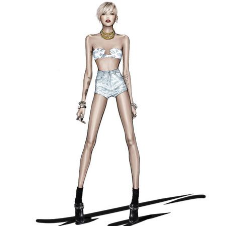 Miley Cyrus Roberto Cavalli-The Bangerz World Tour - silver shorts - handbag.com