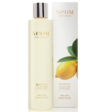 neom organics scicilian lemon and fresh basil body wash - happy shower gels - mood boosting scents and fragrances - handbag.com