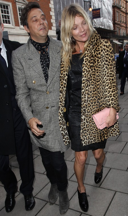 kate moss on her 40th birthday party - leoaprd print coat and pink chanel handbag - celebrity chanel handbags - handbag.com
