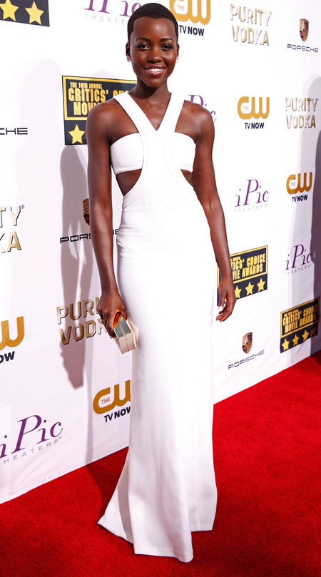 Lupita Nyong'o in white Calvin Klein at Critics' Choice Awards