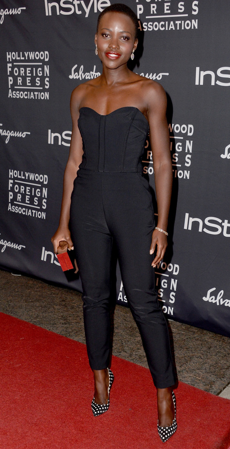 Lupita Nyong'o in Veronica Beard black jumpsuit