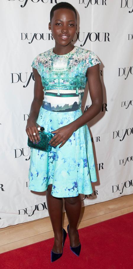 Lupita Nyong'o in blue Mary Katrantzou dress