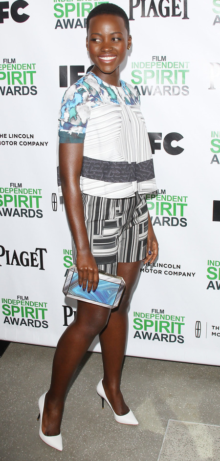 Lupita Nyong'o in Peter Pilotto printed shorts