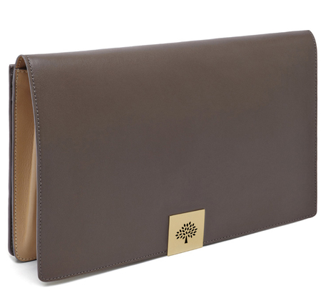 mulberry aw14 campden clutch bag - taupe and wheat leather clutch bag - handbag.com
