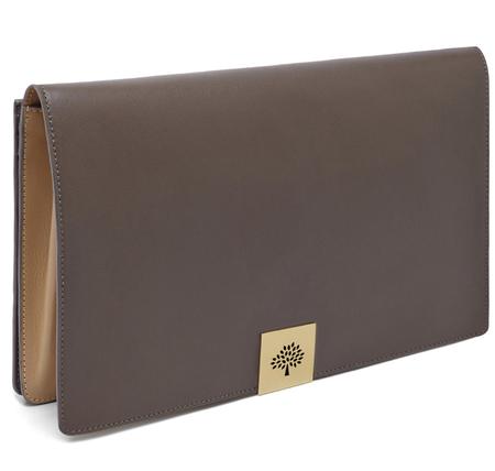 mulberry aw14 campden clutch bag - taupe and wheat leather clutch bag - handbag.com