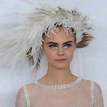 cara delevingne - glitter eye makeup trend - silver eye liner - chanel ss14 paris couture fashion week - handbag.com