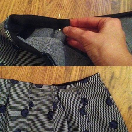 DIY fashion fix - how to take in the waistband of a skirt - step 2 - elastic smaller waist - handbag.com