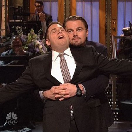 leonardo DiCaprio and Jonah Hill recreate Titanic iconic flying movie moment - Saturday Night Live - Wolf of Wall Street - handbag.com