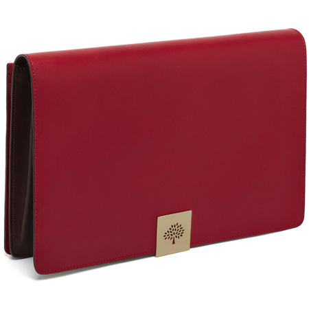 new mulberry aw14 campden clutch - reversible clutch bag - poppy red leather - handbag.com