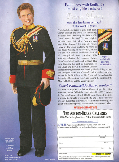 Prince Harry Doll - royal collectors doll - date a prince - royal family - funny memorabilia - life news - handbag.com