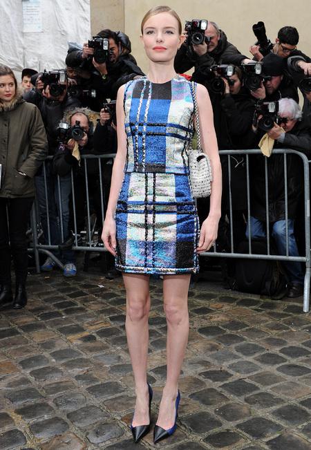 Kate Bosworth - Dior tartan shift dress and handbag - Paris Fashion Week - handbag.com