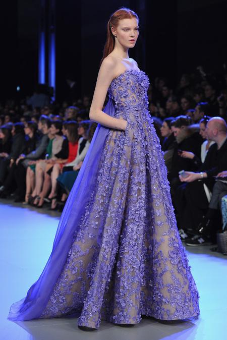 Designer wedding dress ideas from Couture fashion week - Ellie Saab Catwalk Show - blue wedding dress - Fashion and weddings - trends - handbag.com