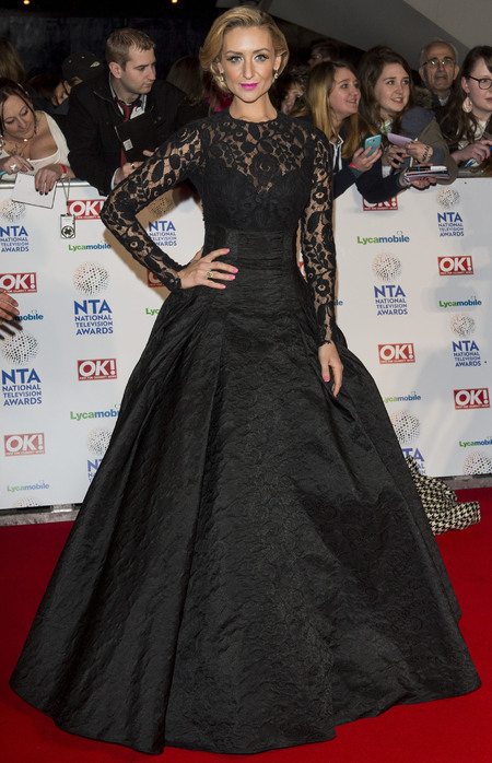 catherine tyldesley - big black lace ballgown dress - national television awards 2014 - handbag.com