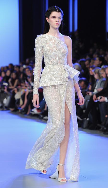 Designer wedding dress ideas from Couture fashion week - Ellie Saab one shoulder wedding dress - modern wedding dress - Fashion and weddings - trends - handbag.com