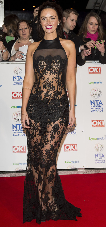 hollyoaks actress jennifer metcalfe - sheer see through blace lace dress - national television awards 2014 - handbag.com