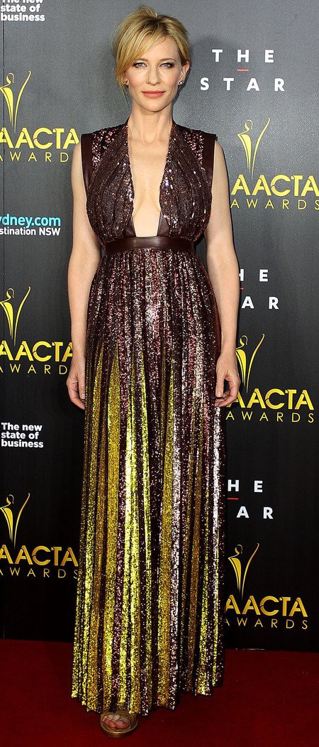 cate blanchett in sequin metalllic dress - plunging red carpet dress - awards season fashion trends - handbag.com