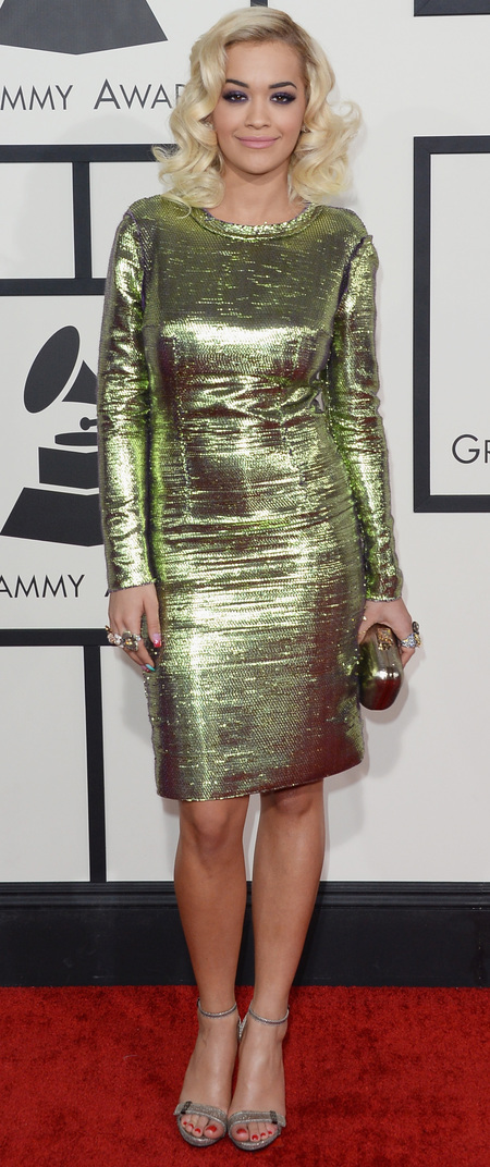 rita ora - metallic green lanvin dress - grammys 2014 - handbag.com