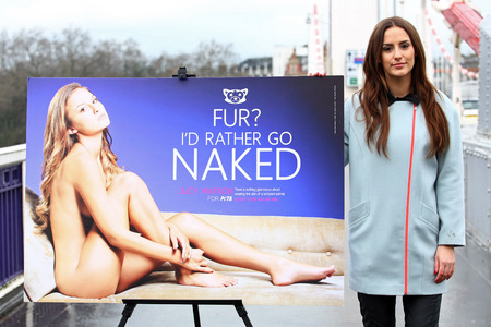 Lucy Watson - peta campaign - id rather go naked - poster - made in chelsea - handbag.com