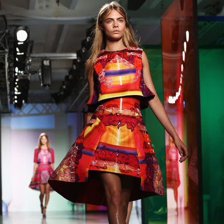 cara delevingne wearing peter pilotto prints - london fashion week spring summer 2014 - british model and fashion designer - prints fashion trend - handbag.com