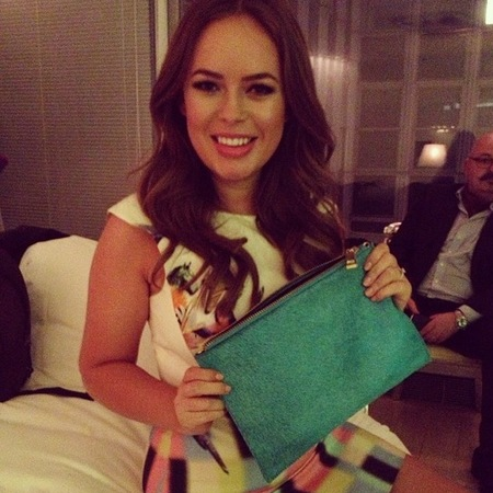 tanya burr river island clutch bag - launch of tanya burr lips and nails collection - celebrity makeup artist - handbag.com