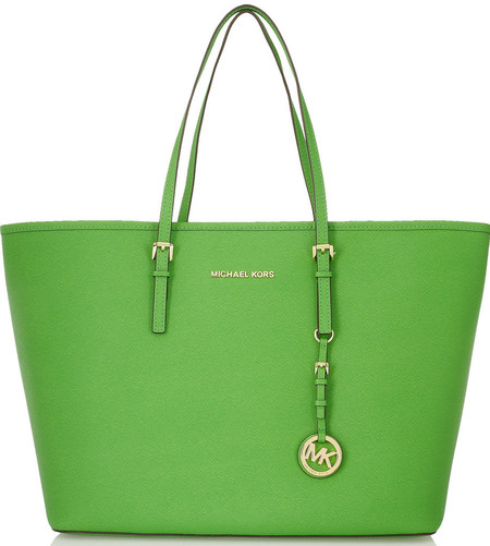 michael kors bright green handbag - textured leather jet set tote - handbasg trends spring summer 2014 - handbag.com