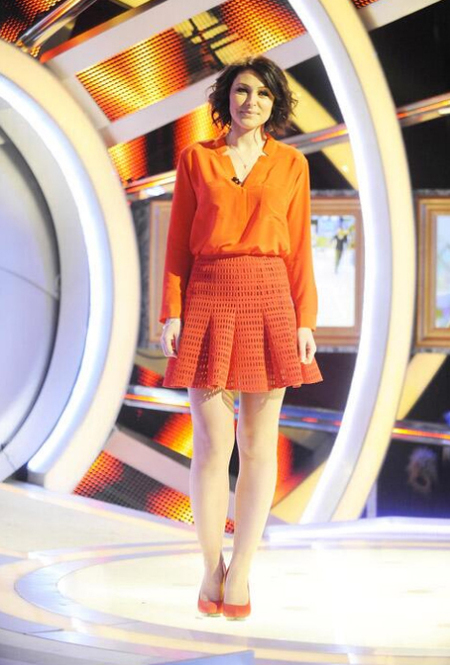 Orange Sandro skirt and shirt