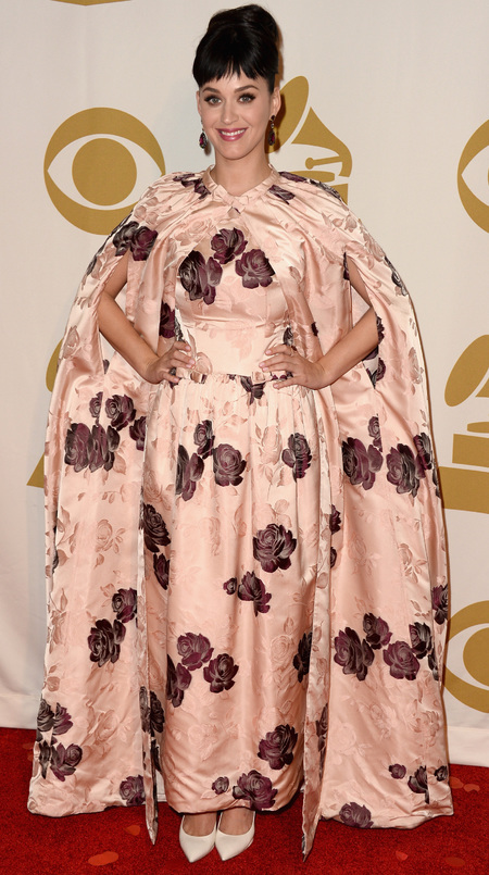 Katy Perry Dolce Gabbana dress - floral curtain dress - Beatles tribute concert 2014 - red carpet - handbag.com