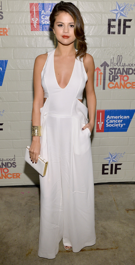 Selena Gomez's plunging white jumpsuit