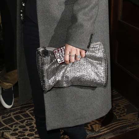 Kate Moss - david bailey exhibition - silver stella mccartney clutch bag - model style - handbag.com