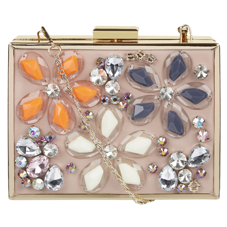 River Island - peach flower jewelled box clutch - Spring Summer high street handbags - handbag.com
