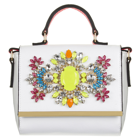 River Island - white bejewelled handbag - Spring Summer high street handbags - handbag.com