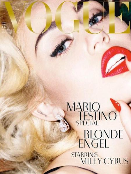 miley cyrus blonde vogue cover - close up with red lips and love tattoo - madonna - marilyn monroe - handbag.com