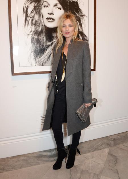 Kate Moss - david bailey exhibition - stella mccartney clutch bag - grey coat - model - celebrity style - handbag.com
