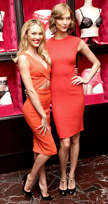 Karlie Kloss and Candice Swanepoel rock red bodycon dresses