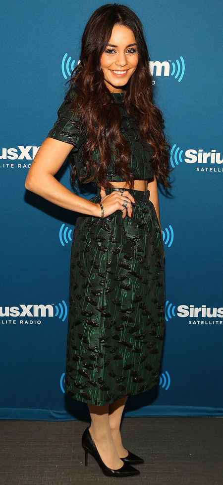 Vanessa Hudgens in Topshop skirt and crop top