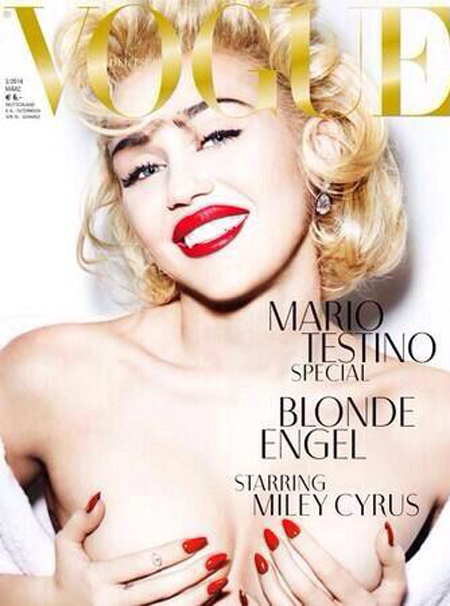 miley cyrus vogue cover - topless holding boobs - red lips and nails - madonna - marilyn monroe style - handbag.com