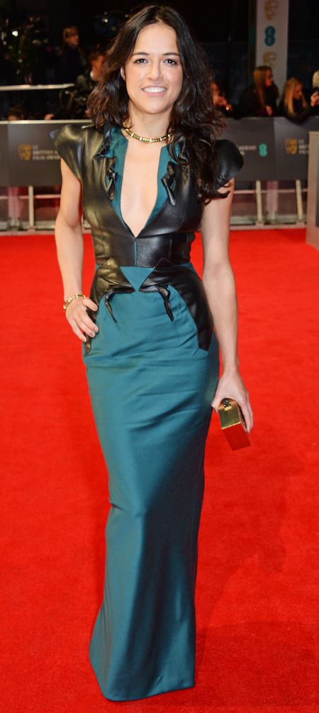 michelle rodriguez at 2014 bafta awards - green and black leather dress - celebrity awards season trends - handbag.com
