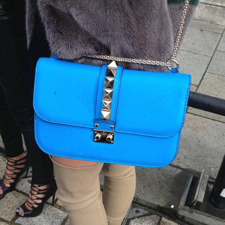 bright electric blue valentino rockstud bag - london fashion week street style - handbagspy - handbag.com