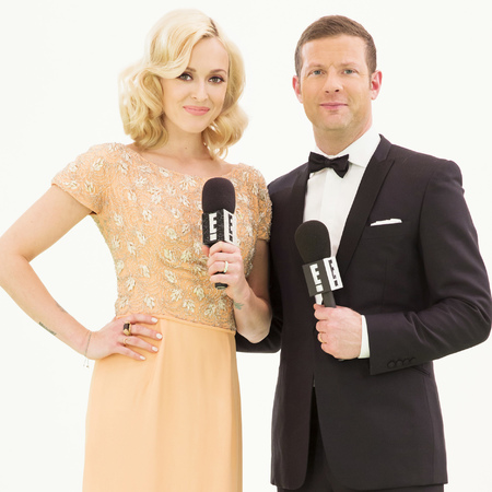 fearne cotton and dermot oleary - host e bafta 2014 red carpet - awards predictions - handbag.com