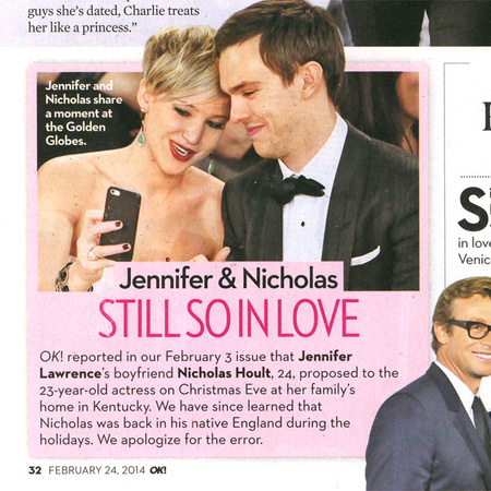 OK! Magazine apologise for printing Jennifer Lawrence was engaged to Nicholas Hoult - celebrity engagement - rumours - celebrity wedding news - Jennifer Lawrence - Nicholas Hoult - news - handbag.com
