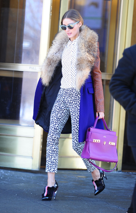 Olivia Palermo - new york fashion week - purple pink hermes - delvaux - print trousers - handbag.com