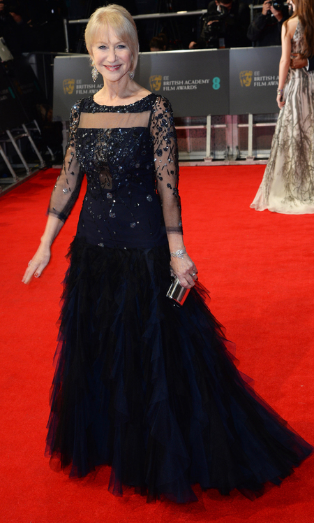 dame helen mirren at 2014 bafta awards - navy blue sequin dress - celebrity awards season fashion trends - handbag.com